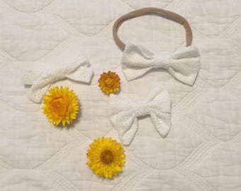 White Baby and Girls Headbands and Hair Bows