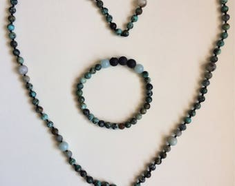 Hand knotted gemstone necklace with bracelet. African Turquoise