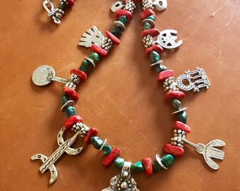 Berber Morrocan Turquoise and Coral Ethnic Tribal Tuareg Vintage charm tiznit North African Amazigh necklace.