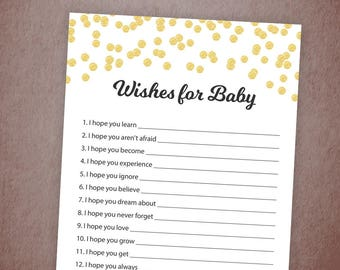 Wishes for Baby Game Printable, Baby Shower Wishes, Gold Confetti, Wishes for Baby Card, Instant Download, Baby Shower Activity, B001