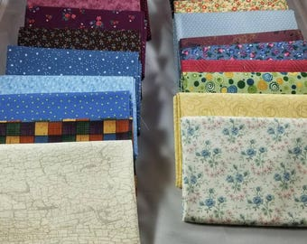 Free Ship! 20 Pre-cut Assorted Fabrics fat quarters