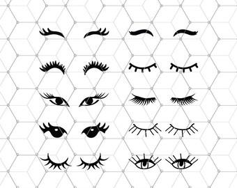 Eyelashes bundle SVG files, Eyelashes Svg files, Eyes svg, Lashes svg file, Make Up svg files