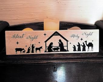 Silent night holy night nativity scene tile