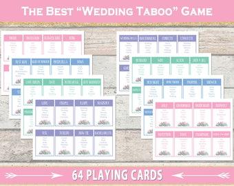 Wedding Taboo Game – Bridal Shower Game – Hen Do – Bohemian – Garden Party – Bridal Tea – Coed Wedding Shower  – Bachelorette – Printable
