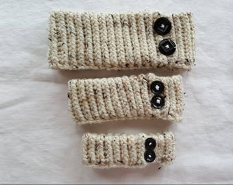Knitted Neckwarmer - Cream with Black Button Decoration
