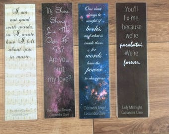 Laminated Bookmarks Cassandra Clare The Infernal Devices Lady Midnight