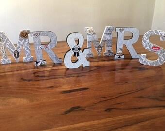 Wedding wood letters Mr & Mrs
