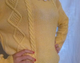 Faded yellow color cotton long sleeve sweater