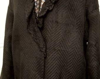 Black viscose fabric and wool coat