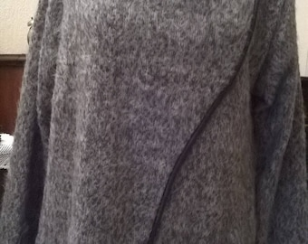 Acrylic and mohair Heather taupe and beige lace long Cardigan