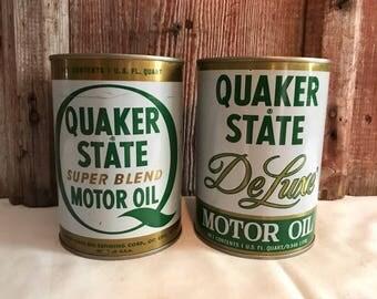 Quaker State Motor Oil Cans Vintage