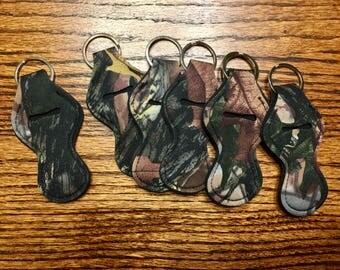 Camouflage Camo Chapstick Holder Wholesale Party favor Other colors available Neoprene Keychain