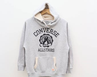 Vintage CONVERSE All Star Original Chuck Taylor Streetwear Gray Hoodies Sweater Sweatshirt Size L