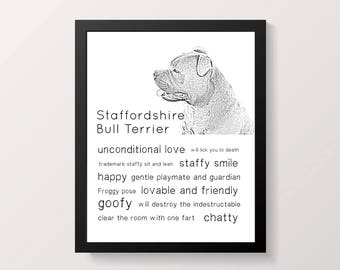 Staffy Traits print, dog quote, dog lover wall print, gift for staffy lover, staffy sketch