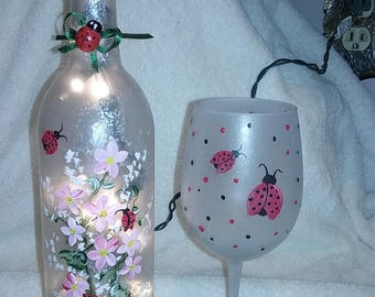 Painted Wine Glass with Lady Bugs