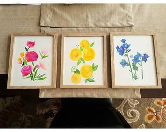 Blue, Pink, Yellow Watercolor flower trio framed paintings