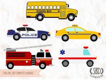 Vehicles, police car, fire truck, school bus, taxi, svg, png, dxf cricut, silhouette studio, cutting machines, vinyl decal, t shirt design