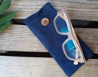 -organic cotton - made in France - glasses case handmade - handcrafted - organic - ethical fashion - gift for her - gift for him