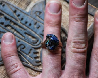 Raw azurite ring | Azurite crystal ring | Azurite mineral ring | Raw gemstone ring | Healing azurite crystal ring | Raw stone ring