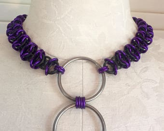 Purple and Black Chainmail Collar with Large Rings