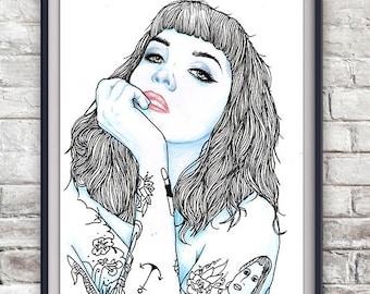 Tattooed Lady Illustration Print - Fashion, Original, Poster, Tattoo, Drawing