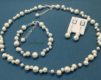 Bridal jewelry set wedding beads necklace bracelet Earrings Ear Sterling silver 925-er