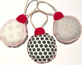 Monochrome fabric polka dot heart star baubles | Christmas Dectorations