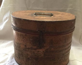 Vintage metal hat box