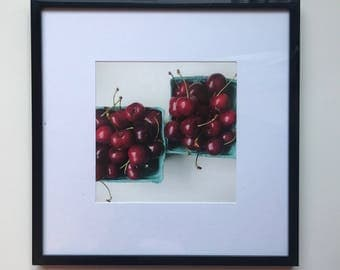 FOOD PHOTOGRAPHY PRINT - farmers market produce art - kitchen art - fine art print - cherries