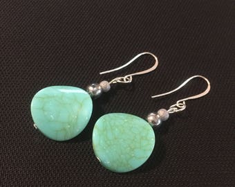 Teal bead dangle fishhook earrings