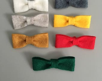 Mini felt bows on one size fits most nylon headband OR alligator clip
