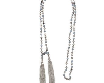 Grey beaded lariat with silver chain tassels