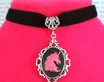 Thin pink and black unicorn cabochon choker