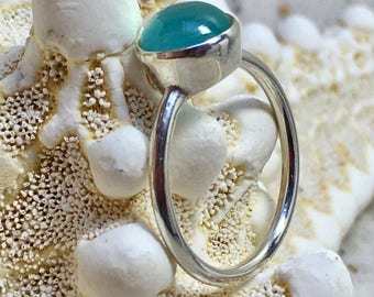 Delicate Sterling Silver Ring with pale Blue Chalcedony / gemstone ring / natural untreated stone