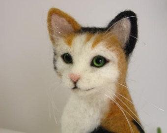 Japanese calico cat  Handmade Needle Felted Miniature wool animal