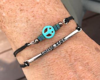 Adjustable Stackable Peace Bracelet Set