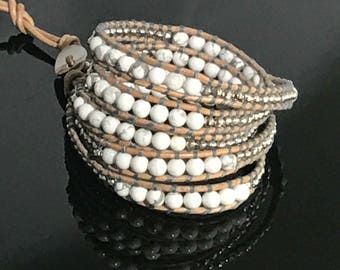 Five wrap bracelet-white, silver, nugget and howlite beads on tan leather
