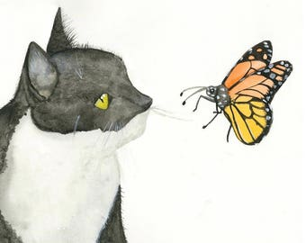 Meow in the Spring -- an original watercolor print