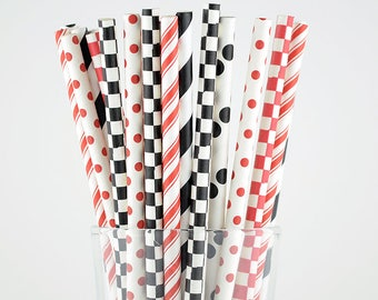 Red And Black Paper Straws Mix - Party Decor Supply - Cake Pop Sticks - Party Favor