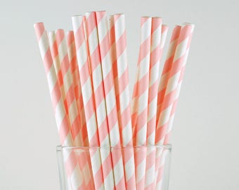 Pink Striped Paper Straws - Mason Jar Straws - Party Decor Supply - Cake Pop Sticks - Party Favor