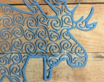 Swirly Moose Vinyl Decal for Yeti, Phone, Laptop & more - You Choose Pattern + Color