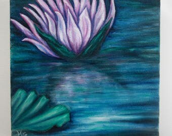 Water Lilies I - Original Oil Painting on Canvas- Small Size - Blue, Green, and Pink, Small Original Art, Nature, Flowers, Landscape