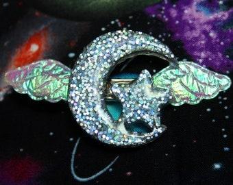 Holographic Moon Star Winged Kawaii Hair Clip Magical Glitter Resin