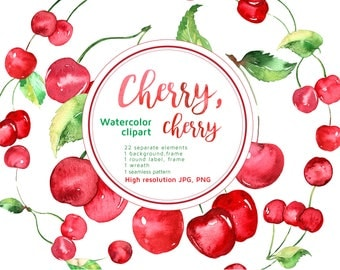 Hand painted watercolor cherries, fruit clipart, watercolour clipart, watercolor clip art, cherry, digital clipart, instant download