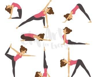 Yoga Positions Clip Art, Yoga Vector Art, Fitness Clipart, Instant Digital Download