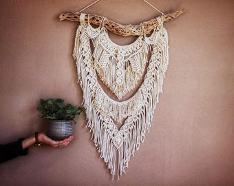 Macrame hung from Cholla ( dried cactus)