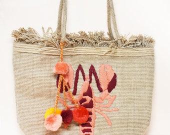 Lobster Tote bag with Tassel