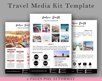 Travel Media Kit Template 3 Page, Blog Media Press Kit Template, Blogger Media Kit, Psd, All Personalized - INSTANT DOWNLOAD