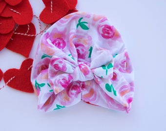White and Pink Floral Turban