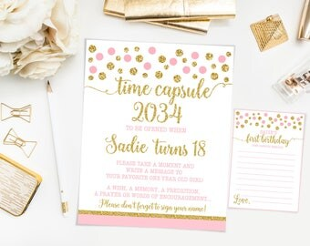 Time capsule first birthday sign, pink and gold polka dots birthday party, printable print No. 002